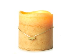 3 LED Mottled Wax Flameless Candle Cream  6x6