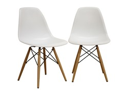 Accent Chairs White 2-PC
