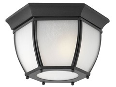 2-Light Outdoor Flushmount, Black
