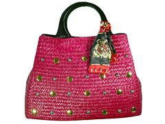 Straw Bag, Raspberry