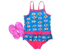 Wippette Turq Fish Swimsuit Set (12M-2T)