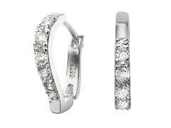 Sterling Silver Simulated Diamond Heart Huggies