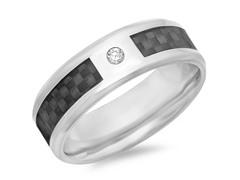 Titanium  Ring w/Black Carbon Fiber
