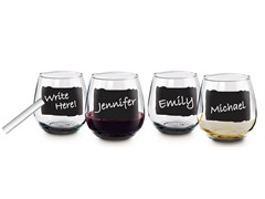 16 Oz. Stemless Wine Glass Set w/ Chalk - S/4