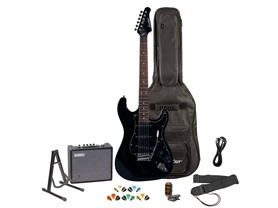 Sawtooth Electric Guitar Bundle - Black