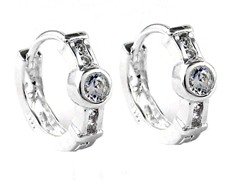 Sterling Silver Fancy Simulated Diamond Huggies