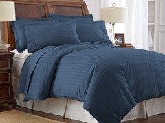 500TC Cotton Duvet Cover Set-Navy-2 Sizes