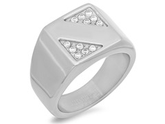 Men's Stainless Steel Ring w/ Accents