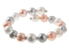 Pink & Grey Freshwater Pearl Bangle