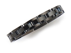 BlackJack Gunmetal Stainless Steel Semi-Circle Bracelet