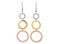 Tri-Color Round Earrings