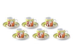 Cat Trio Espresso / Tea Set - 12 pieces - Green