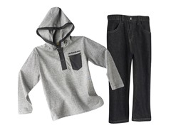 Thin Striped Hooded Top & Jeans (2T-7)