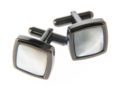 Mother of Pearl & Steel Black Cufflinks