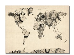 Old Clocks World Map 18x24 Canvas