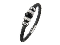 Genuine Black Braided Leather and White Crystal Magnetic Clasp Bracelet