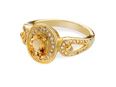 14K Plated Citrine & CZ Ring