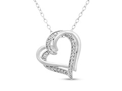 Double Floating Heart Diamond Necklace