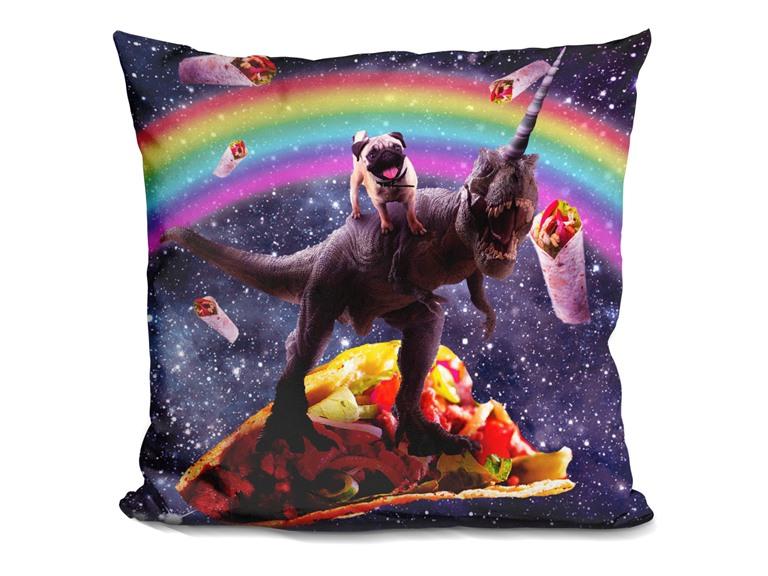 Space Pug Riding Dinosaur Unicorn - Taco & Burrito Pillow