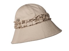 Gardenia Fabric Cloche Hat, Sand