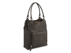 "Executive 16"" Leather/Poly Bucket Tote - Espresso"