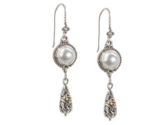 18kt Gold Accent Mabe Pearl Drop Earring