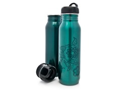 Green Solid & Print Stainless Steel Water Bottle 2-Pack