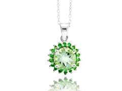 SS Genuine Green Amethyst Tsavorite Necklace