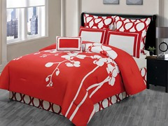 April Orchidea 7Pc Comforter Set-Red-2 Sizes