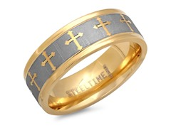 Titanium Two-Tone Ring w/ Cross
