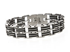 Black Rubber and Steel 2 Row Bracelet