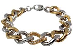 18K Gold Plated Stainless Steel Cuban Link Bracelet w/ Swarovski Crystals