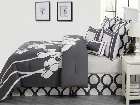 April Orchid Flower 7pc Reversible Comforter Set
