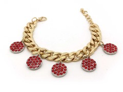 Ruby Circle Crystal Pave Cuban Chain Bracelet