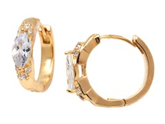18K GP Oval Clear Crystal and Gold Huggie