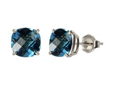 10K WG Stud Earrings, Swiss Blue Topaz