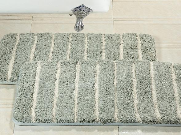 Cotton Striped Memory Foam Bath Rug Set Of 2