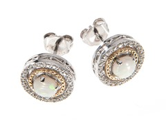 Silver & 14k Gold Opal Earrings