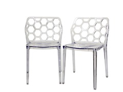 Honeycomb Clear Dining Chair Set of 2