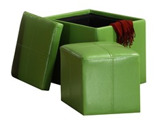 Faux Leather Cube Storage Ottoman - Green