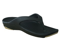 Women's Premium Flip Flop, Black / Tan