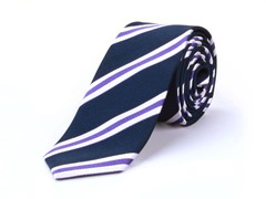 Silk Tie, Navy w/ Stripes