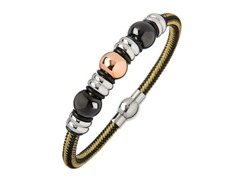 Black & Gold Braided Wire Bracelet