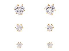 Clear Crystal Heart Set of 3 Stud Earrings