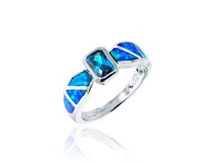 SS Blue Opal with Blue CZ Band Ring