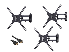 "3pk Articulating Mount for 13-47"" TVs w/ BONUS 12' HDMI"