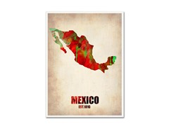 Naxart 'Mexico Watercolor Map' Canvas Art- 2 Sizes