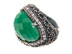 SS Oval Dyed Emerald Genuine Semi-Precious Gemstone CZ Ring