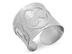 Stainless Steel Cuff Bracelet w/ Heart