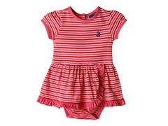 Knit Romper - Red & Pink Stripes (0M-24M)